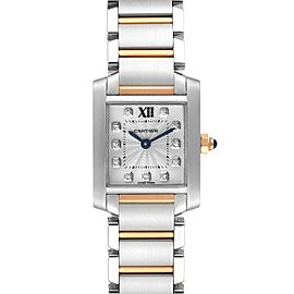 Cartier Tank Francaise Steel Rose Gold Diamond Watch WE110004 Box Papers