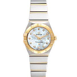 Omega Constellation Steel Rose Gold MOP Diamond Watch 123.20.24.60.55.001
