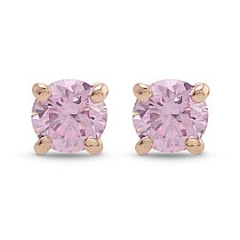 Leibish 14K Rose Gold Fancy Intense Pink Diamond Round Brilliant Stud Earrings