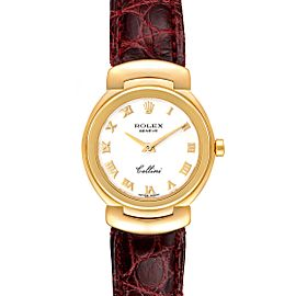 Rolex Cellini Yellow Gold White Dial Brown Strap Ladies Watch 6621