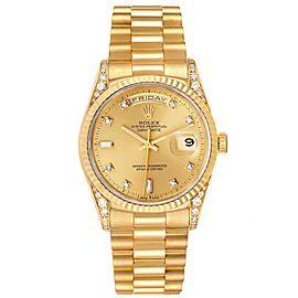Rolex President Day Date Yellow Gold Diamond Lugs Watch 118338