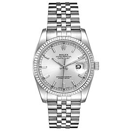 Rolex Datejust Steel White Gold Silver Dial Mens Watch 116234 Box Card