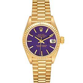 Rolex President Datejust 26 Yellow Gold Purple Dial Watch 69178