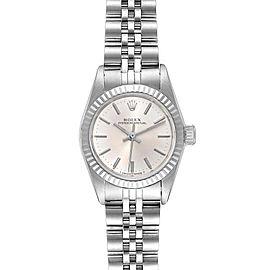 Rolex Non-Date Steel 18k White Gold Silver Dial Ladies Watch 67194