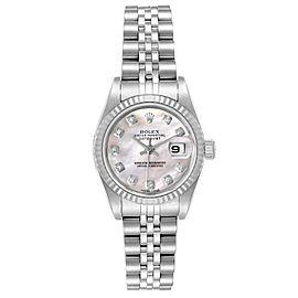 Rolex Datejust Steel White Gold MOP Diamond Ladies Watch 79174