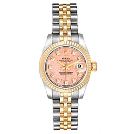 Rolex Datejust Steel Yellow Gold Pink Coral Diamond Dial Watch 179173