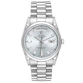 Rolex President Day-Date Platinum Ice Blue Dial Diamond Mens Watch 118296