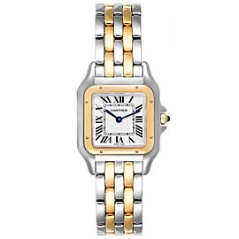 Cartier Panthere Ladies Steel Yellow Gold 2 Row Watch W2PN0007 Box Papers