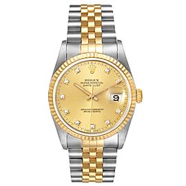 Rolex Datejust Steel Yellow Gold Champagne Diamond Dial Mens Watch 16233