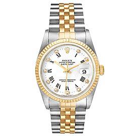Rolex Datejust Steel Yellow Gold White Diamond Dial Mens Watch 16233