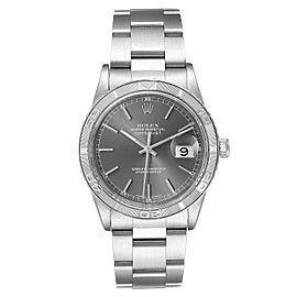 Rolex Turnograph Datejust Steel White Gold Grey Dial Mens Watch 16264