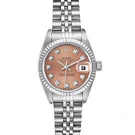 Rolex Datejust Steel White Gold Salmon Diamond Dial Watch 79174
