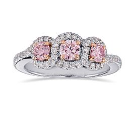 Leibish Platinum 18K Rose Gold Fancy Pink Diamond 3 Stone Ring Size 6.5