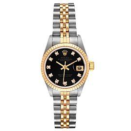 Rolex Datejust 26mm Steel Yellow Gold Black Diamond Dial Ladies Watch 69173