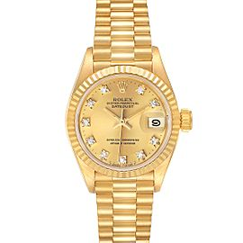 Rolex President Datejust Yellow Gold Diamond Dial Watch 69178