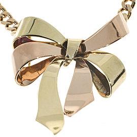 Vintage Art Deco 14K Rose & Yellow Gold Ribbon Bow Pendant Necklace