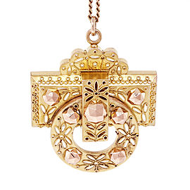 14k Rose & Green Gold Victorian Archeological Pin/Pendant Necklace