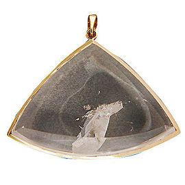 18k Yellow Gold Vintage 75.00ct Twin Manifestor Quartz Crystal Pendant