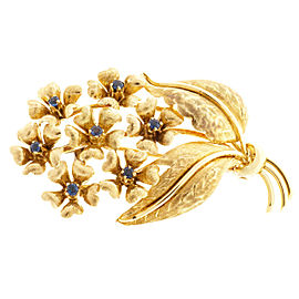 Tiffany & Co. 18K Yellow Gold with 0.21ct. Sapphire Textured Flower Pin Brooch