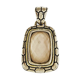 Asch Grossbardt 18K Yellow Gold 925 Sterling Silver Mother Of Pearl Faceted Quartz Pendant