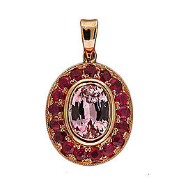 14k Rose Gold Vintage 1.71ct Pink Sapphire .81CT Ruby Pendant
