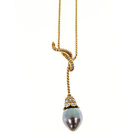 18K Yellow Gold 0.65ct Diamond Cultured Peacock Black South Sea Pearl Dangle Pendant Vintage Necklace