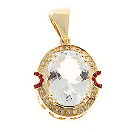 Vintage Golden Brown 17.00ct Oval Precious Topaz Diamond Ruby Pendant 14k Gold