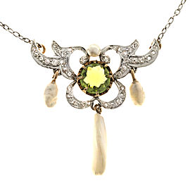 Vintage 14K Pink Gold and Platinum 1.00ct Old Peridot, Diamond and River Pearl Pendant