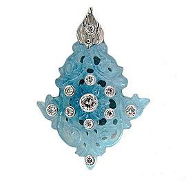 Vintage Platinum 27.83ctw Natural Carved Aquamarine and Diamond Pendant