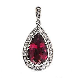 14k White Gold Vintage 4.46ct Pear Pink Tourmaline .30ct Diamond Pendant