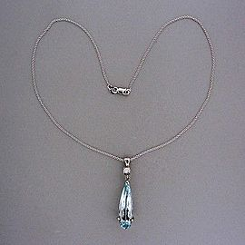 14k White Gold Vintage 12.00ct Aquamarine .23ct Diamond Pendant