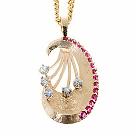 14K Rose Gold with 0.40ct Ruby & Florentine 0.17ct Diamond Vintage Art Deco Pendant Necklace