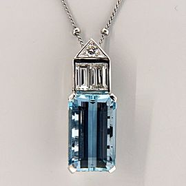 Vintage Platinum 6.52ct Emerald Cut Aquamarine and Diamond Art Deco Pendant Necklace