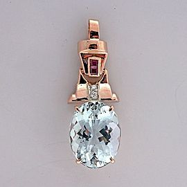 14k Rose Gold Art Deco 9.00ct Aquamarine Ruby Diamond Pendant