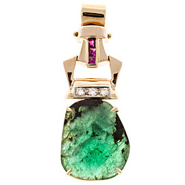 14K Rose Gold with 7.78ct Emerald, Ruby & Diamond Vintage Retro Art Deco Pendant