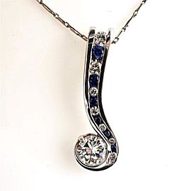 Vintage 14k White Gold Diamond and Sapphire Swirl Pendant Necklace