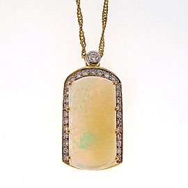 18k Yellow Gold 10.80ctw Opal Pendant With Diamond Accents