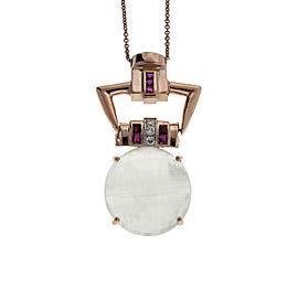 Art Deco 14K Rose Gold with 20.50ct Cats Eye Aquamarine, Diamond & Ruby Pendant Necklace