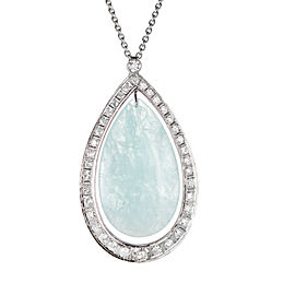 Platinum 75.00ct Natural Aqua & Diamond Pendant Necklace