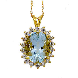 Vintage 18k Yellow Gold 6.75ct Untreated Aqua Diamond Pendant Necklace