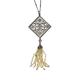 Estate Victorian Platinum .90ctw Old European Diamond and Cultured Pearl Tassel Pendant
