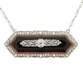 18K Yellow Gold & Platinum with Onyx & Diamond Pendant Necklace
