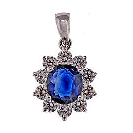 18k White Gold 1.14ct Royal Blue Sapphire Diamond Pendant