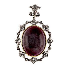 18K Pink Gold and Sterling Silver 15.00ct Cabochon Raspberry Garnet & .60ct Diamond Pendant