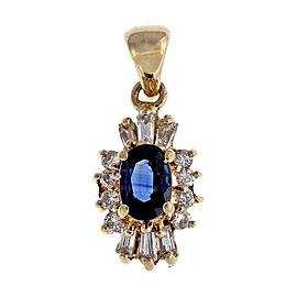 14K Yellow Gold .65ct Sapphire Diamond Vintage Pendant