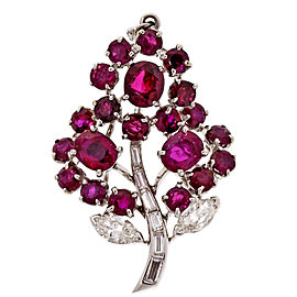 Platinum 1.80ct Oval Red Ruby Flower Diamond Pendant