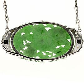 Platinum Jadeite Jade Pendant Vintage Art Deco Diamond