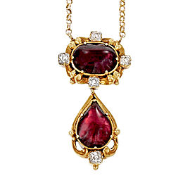 Vintage 14K Yellow Gold Garnet Diamond Pendant Necklace