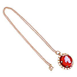 Vintage 14K Rose Gold Carnelian Diamond Pendant Necklace