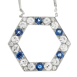 Platinum Montana Sapphire Diamond Vintage Art Deco Pendant Necklace